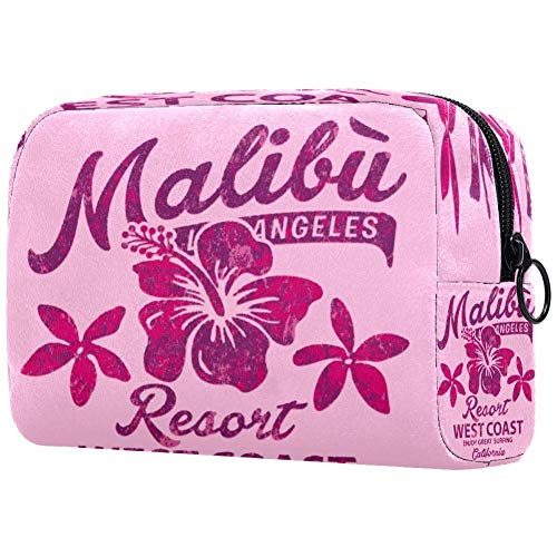 Malibu Surfing Hibiscus Vintage Print Cosmetic Bag Makeup Pouch Case Organizer for Travel Portable Toiletry Purse for Girls, Women