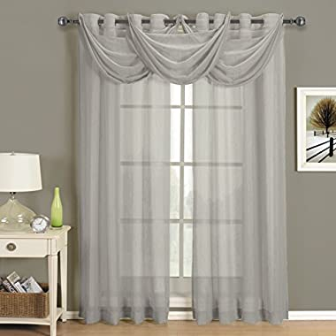 CRUSHED SHEER ABRI GROMMET Curtain Panels Window Treatment (50 x 96  Panel, Gray)