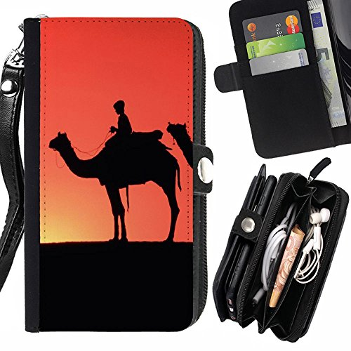 Graphic4You Camel Animal Rits Portemonnee Met Band Kaarthouder Hoesje Cover voor Samsung Galaxy J1 Mini/Galaxy J1 NXT, Portemonneehouder, Design #1