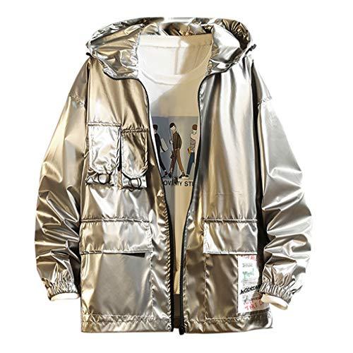 MAYOGO Sweatshirt Herren Glitzer Kapuzen Sweatjacke College Jacke Windbreaker Softshelljacke Sportliche Freizeitjacke Zip Windjacke (Silber, XXXXL)