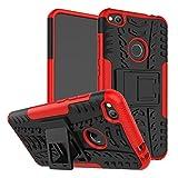 Litastore Huawei P8Lite(2017) Funda, Hybrid Design con Stand Feature Detachable Dual Layer Protective Shell Hard Espalda Funda Carcasa para Huawei P8Lite(2017) - Rojo