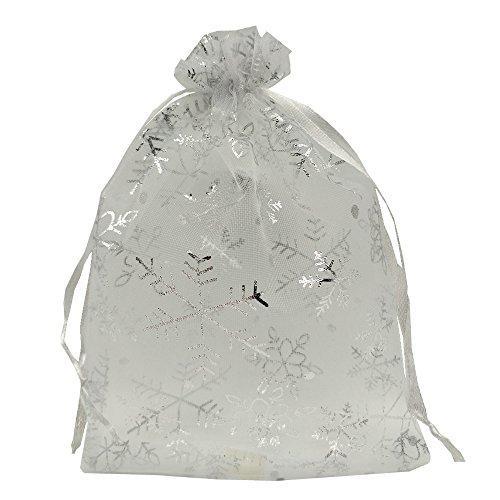 Ankirol 100 Stück Weihnachts-Organza-Geschenktüten mit Schneeflocken mit silbernem Aufdruck für Schmuck, Süßigkeiten, Geschenktüten mit Kordelzug, weiß, 5 x 7