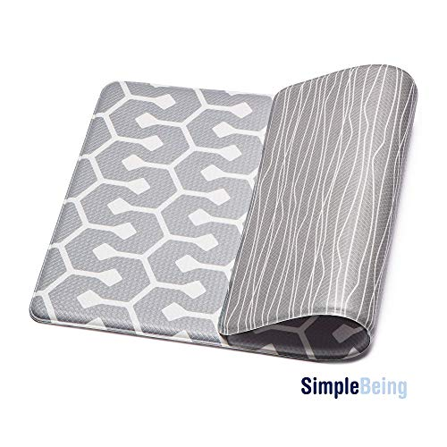 Simple Being Anti Fatigue Kitchen Floor Mat, Comfort Heavy Duty Standing Mats, Ergonomic Non-Toxic Waterproof PVC Non Slip Washable For Indoor Outdoor Home Office (Grey Geometric, 32' x 17.5')