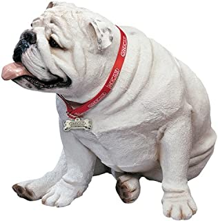 Sandicast Large Life Size White Bulldog Sculpture, Sitting