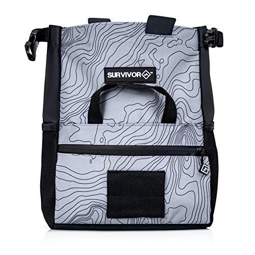 Survivor Chalk Bucket - Large Size Chalk Bag for Rock Climbing & Bouldering - Light Grey Chalk Pot with Magnetic Closure, 2 Zippered Pockets, 2 Side Pockets & 4 Brush Holders - Boulder Equipment Gear