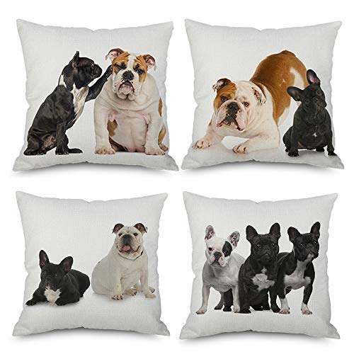 LoveHome Decor 4 PCS Throw Pillow Covers, French Bulldog Pet Portrait - Happy Puppy Companion Decorative Cushion for LivingroomRoom/Sofa/Farm House,Linen,18 X 18 inch