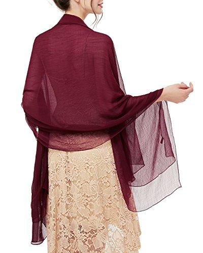 bridesmay Damen Strand Scarves Sonnenschutz Schal Sommer Tuch Stola für Kleider in 29 Farben Burgundy