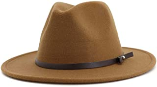 XinLin Du Men Women Fedora Hat With Belt Autumn Winter Wool Hat Panama Hat Wide Brim Hat
