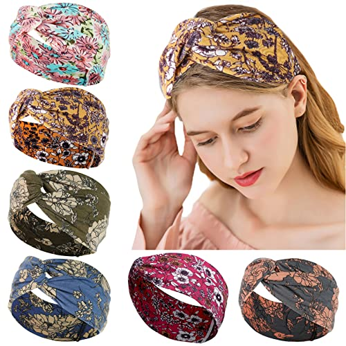 6 fasce elastiche per capelli da donna, accessori in stile boho, con motivo floreale, ideali per lo yoga, la corsa, ecc