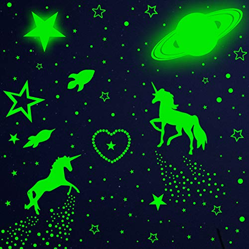 915PCS Glow in Dark Stars and Wall Decal, Glowing Moon Meteors for Ceiling and Wall Decor, Best Gift for Kids Bedding Room Nursery Room Baby Shower and Home Decoration Party -Green
