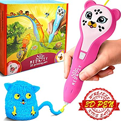 MeDoozy 3D Pen Set - Ideal Girl Gifts for Birthday - Best Toys for Kids and Teens - Cool Arts and Crafts Girls Toys - Popular Art Supplies kit - Top Science Children Present w/Animal Stickers (Pink)