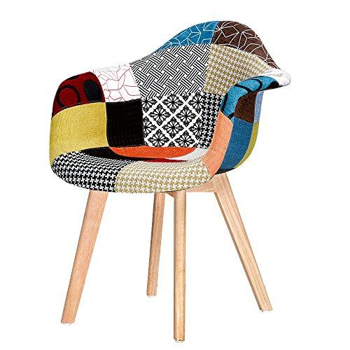Sillón de tela con patchwork, silla de comedor para casa, oficina, cocina, comedor, comedor, multipatrón, patas de madera maciza