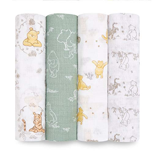 aden + anais Disney Swaddle Blanket | Boutique Muslin Blankets for Girls & Boys | Baby Receiving Swaddles | Ideal Newborn & Infant Swaddling Set | Perfect Shower Gifts, 4 Pack, Winnie The Pooh