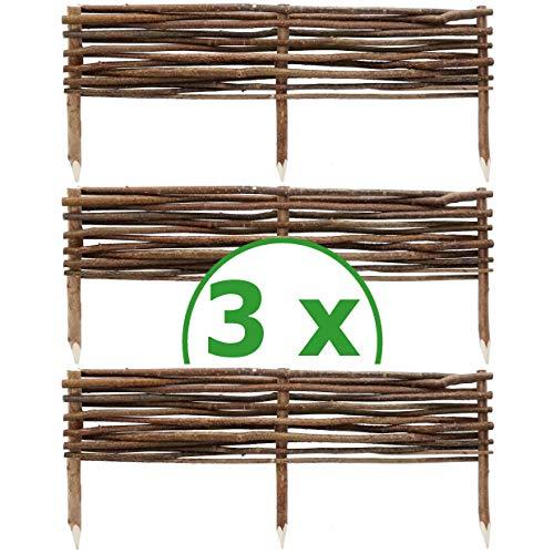 BOGATECO 3 x Haselnuss Beeteinfassung   20 cm Hoch & 90 cm Lang   Staketenzaun Perfekt als Beet-Umrandung oder Weg-Abgrenzung