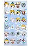 Frozen, the Frozen: toallas para niños con motivos completamente descarados, toallas, toallas de playa, toallas de baño con Anna, Elsa, Olaf, Kristoff y alces Sven, 70x140 cm (emojis)
