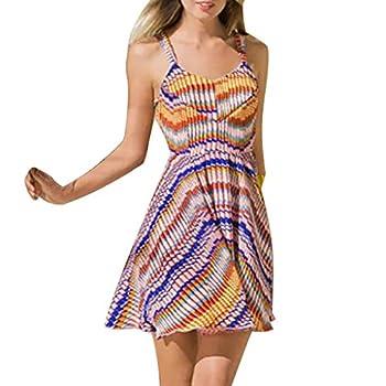 beetleNew Womens Dress Robe sans Manches, col en V, Dos Nu, Bandage, Ourlet plissé, Sexy, décontracté, Plage, fête, Vacances, Mini Robe - Multicolore - S