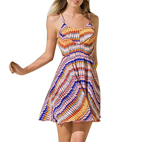 Witspace Casual Women's Summer Sling Sleeveless Multicolor Printing Waist Mini Dress