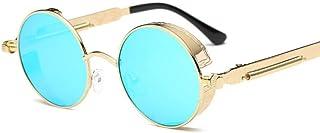 HPPSLT - Gafas de Sol polarizadas Retro Medio Marco clásico para Hombre y Mujer, Gafas de Sol de Metal Europeas y Americanas Gafas Redondas Retro para Hombres y Mujeres