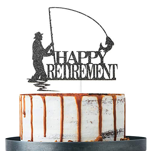 Black Glitter Happy Retirement Cake Topper, Retirement Party Decorations, Fisherman Retirement Party Supplies