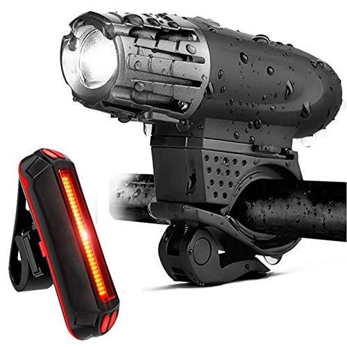Mountainbike-koplamp, Nachtrijlicht, LED-koplamp, 300 Lumen Koplampenset, Racefiets Koplamp (opladen Via USB)