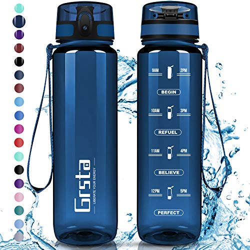 Grsta Botella Agua - Botella de Agua Deportes 350ml Botella Deportiva Tritan de Plástico Sin BPA...