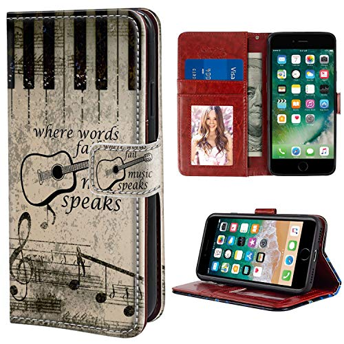 "Wallet Case Compatible iPhone 6 Plus iPhone 6s Plus 5.5"" Fire Ice Guitar Music Theme Wallpapers Flap"