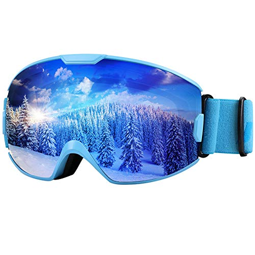 KUYOU Ski Goggles - OTG Snow Goggles,Over The Glasses Snowboard Goggles Anti-Fog 100% UV Protection for Men Women Youth (Blue, M :Youth/Adult)