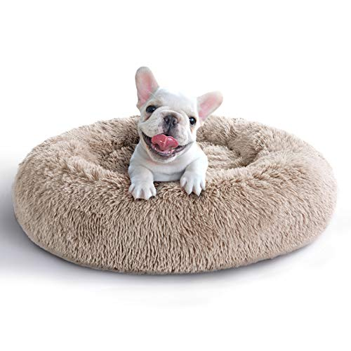 COHOME Soft Orthopedic Donut Cuddler Round Dog Bed Premium Faux Plush Fur 3D PP Cotton Self Warming Anti-Anxiety Dog Cushion for Dog & Cat,Non-Slip Bottom,Washable - Brown 23X23