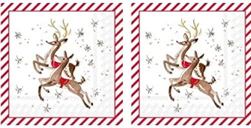 Reindeer Pattern 3-Ply Paper Napkins Cocktail Large-scale sale Now on sale Christma 40-Count