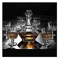カクテルグラス, 酒瓶ディスペンサーウイスキーデカンタウイスキーデカンターとメガネセット鉛フリーガラスウイスキーデカンター800mlユニークなスタイリッシュなウイスキーギフトセット(カラー:a) (Color : B)