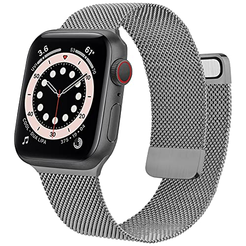 Mugust Metal Band Compatible with Apple Watch Band 38mm 40mm 42mm 44mm, Stainless Steel Mesh Strap Replacement for iWatch Series 6 5 4 3 2 1 SE (Dark gray, 42mm/44mm)