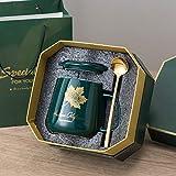 Xiaobing Tazza da caffè con motivo a foglia per uomo e donna, tazza con coperchio, cucchiaio, coppia, tazza per bere -C269-420ML