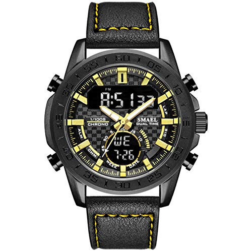 JTTM Relojes Hombre Reloj Militar Deportivos Digital Impermeable LED Cronometro Calendario Fecha Electrónico Reloj Grandes De Pulsera De Analógico Cuarzo Casual,Black Gold