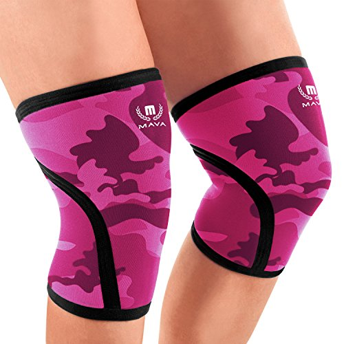 Mava Sports Knee Compression Sleeve Support for Men and Women with Perfect 7mm Neoprene Material for Powerlifting, Weightlifting, Body Building, Gym Workout, WOD and Squats (Camo Pink, Medium)..