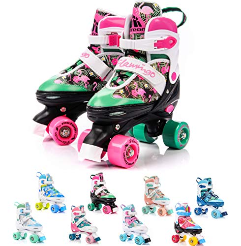 meteor® Retro Rollschuhe: Disco Roller Skate wie in den 80er Jahren, Jugend Rollschuhe, Kinder Quad Skate, Farbvarianten - Flamingo