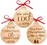 Heart's Sign Our First Christmas Ornament Mr & Mrs Gifts for Newlyweds Wooden Christmas Tree Ornaments, Set of 3 (First Married)
