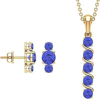 Tanzanite Drop Pendant, Bridal Jewlery Set, 2.65 CT Blue Gemstone Pendant, September Birthstone Drop Earrings, Anniversary...