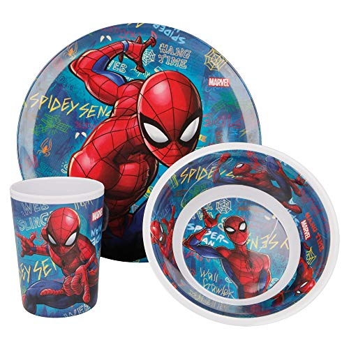 Stor Set de vaisselle en mélamine 3 pièces (assiette, bol et verre). Plusieurs design disponibles (Disney, Frozen, LOL, Peppa Pig, Pat' Patrouille,...) Spiderman