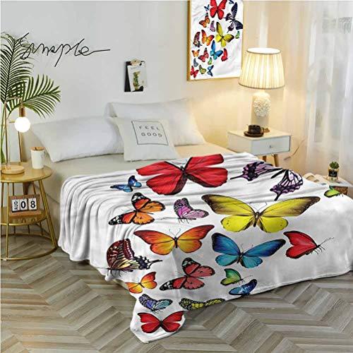 "alisoso 70"" W x 84"" L Butterflies Fleece Blanket Lightweight and Washable Romantic Wildflowers"