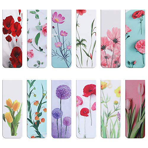 24 Pieces Plant Flowers Magnetic BookmarksMWOOT Assorted Magnet Book Markers SetMagnetic Page Clips Markers for Students Teachers School Home Office Reading Supplies6x2cm