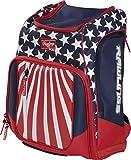 Rawlings Legion Baseball/Softball Backpack Bag, Red/White/Blue, high School/College, Legion-USA
