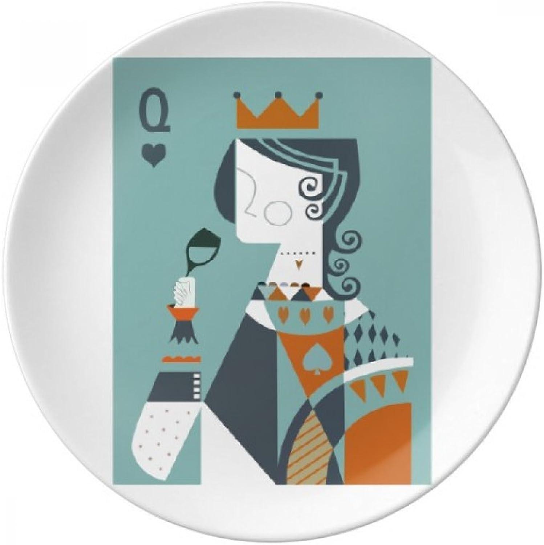 Playing Cards Illustration Q Pattern Decorative Porcelain Dessert Plate 8 inch Dinner Home Gift