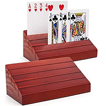 """LotFancy Playing Card Holder for Kids Seniors Pack of 2 Wooden Hands Free Cards Holder for Canasta Poker Parties Family Card Game Nights 6"""" x 3.1"""" x 2.4"""""""