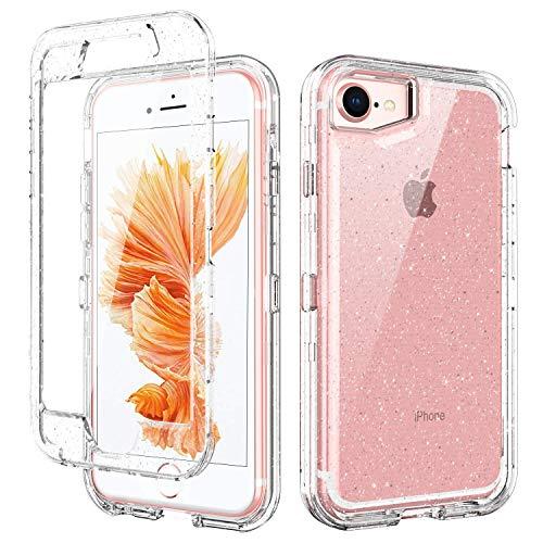 BENTOBEN Funda iPhone SE 2020, Funda iPhone 6/6S/7/8, Transparente Cristal Purpurina 3...