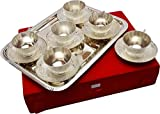 JAIPUR ACE Royal Silver Plated Metal Cup Plate Set with 6 Cup 6 Plate and Try
