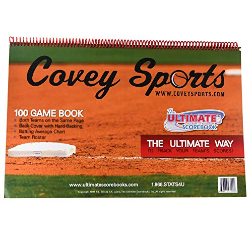 Covey Sports Baseball Softball Scorebook - (100 Games Version) - Side by Side Scorekeeper Score Book