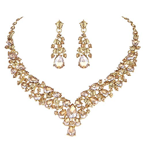 Youfir Austrian Rhinestone Crystal Wedding Gown Prom Ball Necklace Earrings Jewelry Set for Brides Dress (Champagne)