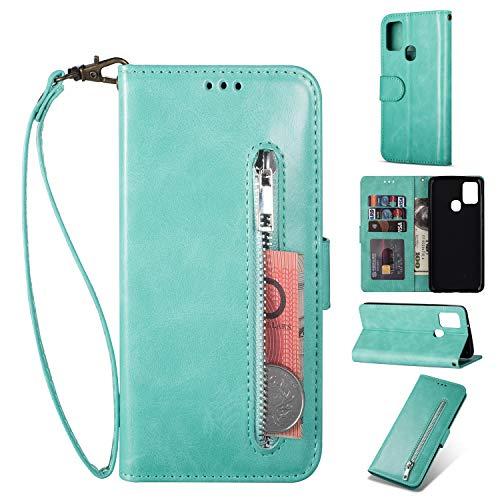 ZTOFERA Samsung A21S Hülle, Magnetisch Folio Flip Wallet Leder Standfunktion Reißverschluss schutzhülle mit Trageschlaufe, Brieftasche Hülle für Samsung Galaxy A21S - Minzgrün