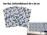 infactory 3D Fliesenaufkleber Bad: Selbstklebende 3D-Mosaik-Fliesenaufkleber Dezent 26 x 26 cm, 3er-Set (Selbstklebende Mosaik Folie) - 3