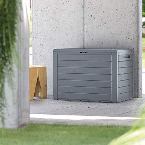 FineHome 190 Liter Kunststoff Auflagenbox Gartenbox Kissenbox Holz-Optik KunststoffPolsterauflagen wasserdicht Anthrazit